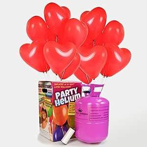 We Are Party Pack Romántico: bombona de Helio Maxi + 50 Globos de látex de Corazón Rojos 28cm Made in Spain: Amazon.es: Juguetes y juegos