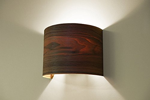 Hallway Wall Light Fixture, Wall Lamp - Walnut Arc Wood Veneer Lamp (Veneer Walnut Strips)