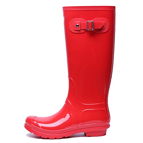 NAN Ms. Rain Boots High Adult Rain Boots Four Seasons Slip Waterproof Korean Fashion High Water Shoes Overshoes Light Comfort (Color : Red, Size : EU36/UK4/CN36) Red