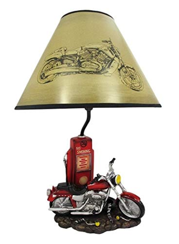 - Red Motorcycle Bike & Gas Pump Station Figural Table Lamp w/Shade Home Decor B2