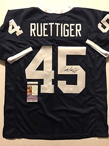 Autographed/Signed Rudy Ruettiger Notre Dame Blue College Football Jersey JSA COA