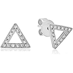 14K Gold 0.23 Ct. Natural Real Round Cut White Diamond Triangle Stud Earrings For Women