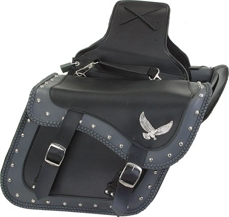 Leather Studded Motorcycle Saddlebags (Braided Two Tone Slanted Motorcycle Saddlebags Throw Over Zip-off Studded Saddle Bags)