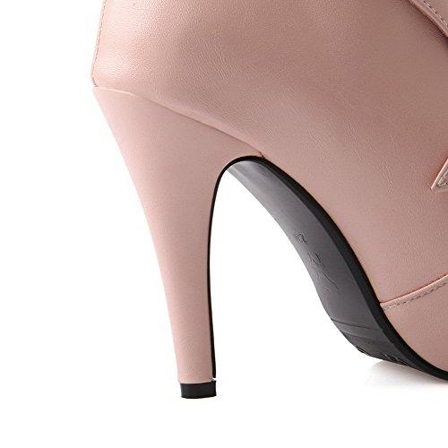 AllhqFashion Damen PU Leder Rein Ziehen auf Spitz Zehe Hoher Absatz Stiefel Pink