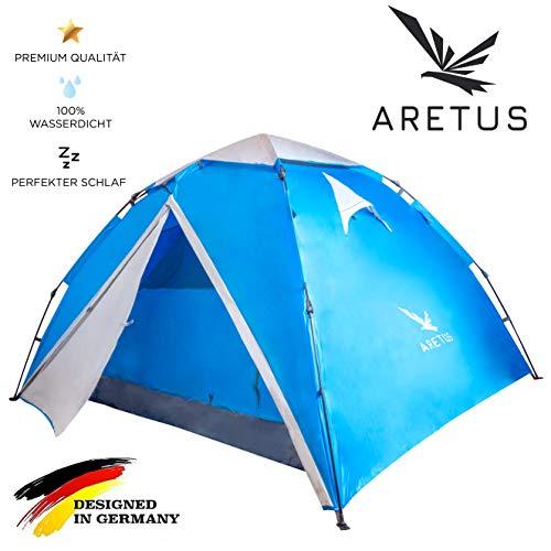 Aretus – Wurfzelt 2 – 4 Personen AUF-ABBAU IN 45 SEKUNDEN -Extra Groß & Wasserdicht- Pop up Zelt 3 Person automatik…