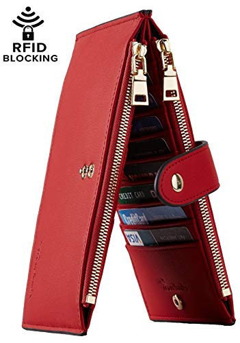 lllet RFID Blocking Bifold Multi Card Case Wallet with Zipper Pocket (Chelsea Red Classic) ()
