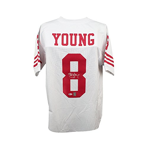 Steve Young Autographed Football - Steve Young Autographed San Francisco 49ers Custom White Football Jersey BAS COA