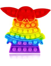 Rainbow Yoda Pop Poppers Cheap Fidget Toy Popitsfidgets Bubble Popping Figetget Sensory Cool Silicone Autism ADHD Anxiety Stress Relief Game Gift for Adults Boys Girls Teen