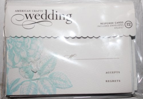 American Crafts Wedding Response Cards Embossed Flowers- 12 Response Cards & Envelopes