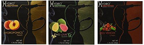 Hydro Herbal 100% Tobacco & Nicotine Free Premium Hookah Shisha Molasses Flavor, Lot of 3 (Assorted flavors)