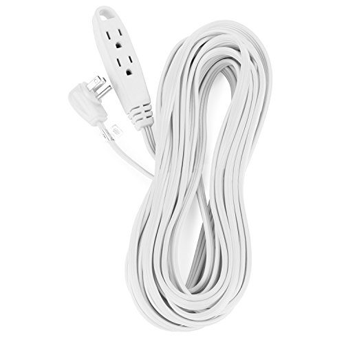 Aurum Cables 35 Feet 3 Outlet Extension Cord 16AWG Indoor/Outdoor Use White - UL Listed