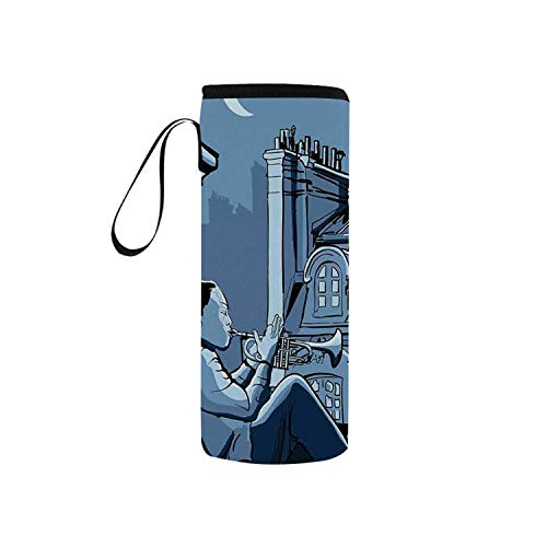 C COABALLA Jazz Music Decor Simple Neoprene Water Bottle Pouch,Trumpet Player on a Roof in Paris at Night Eiffel Moon Europe Illustration Decor for Home,5.91