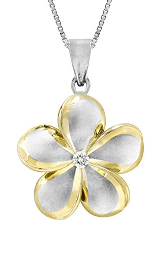 Sterling Silver Plumeria Pendant Necklace
