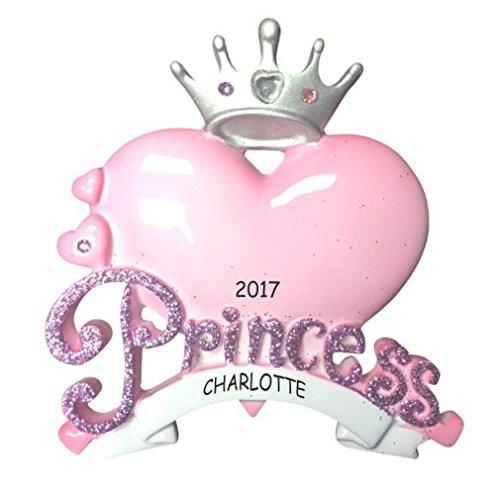Personalized Princess Heart Kids Christmas (Personalized Christmas Ornaments For Kids)