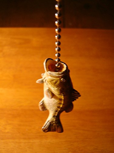 Bass Fish Fishing Lodge Ceiling Fan Light Lamp Pull Chain Fisherman Cabin -