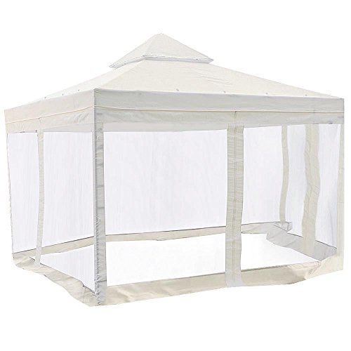 Koval Inc. 10 X 10 Ft Garden Patio Canopy Gazebo Replacement Canopy with Net Top Ivory White