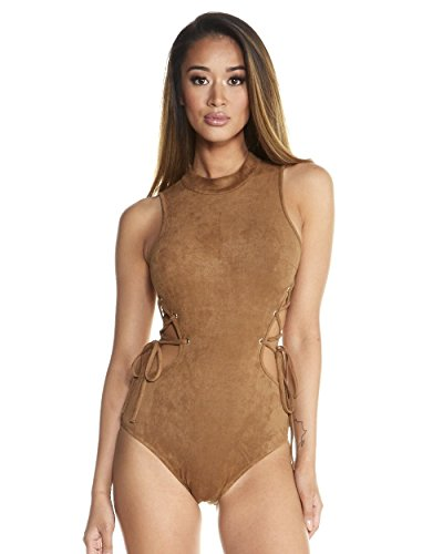 iHeartRaves Suede Lace-Up Bodysuit (Small, (Suede Pants Suit)