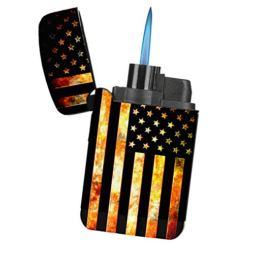 American Flag Grunge Metal - Sunshine Cases Matte Black Rubber Grip Flameless Turbo Pocket Lighter