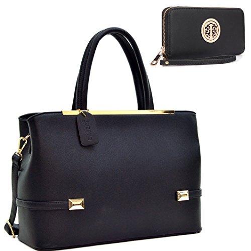 dasein-gold-tone-faux-leather-frame-satchel-tote-shoulder-handbag-purse-tablet-ipad-bag-8895-set-bla