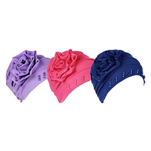 Dormir Perlé Turban De Chapeaux amp; Bonnet Rouge Alopécie Bonnets Bleu Besbomig Musulman Train Chapeau Chimio Coton Fleur Tête Rose Violet Couverture Royal En 5PvxwYqO