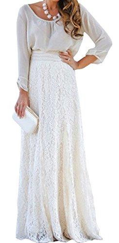 Dentelle Maxi Taille Haute BLACKMYTH Femme Elegant Double Jupe Blanc lastique Pliss Longue Couche Patineuse WEBaYFn