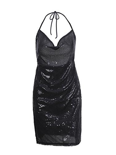 Berrygo Sexy V-cou Côté Dos Nu À Sequins Féminin Diviser Mini Robe De Soirée Noire