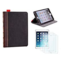 wBest Magnetic Brown Retro Vintage Ancient Old Book Bible Pattern Style PU Leather Stand Smart Case for Apple iPad Mini / iPad Mini 2 / iPad Mini 3 Retina with 3xScreen Protectors with One Year Warranty