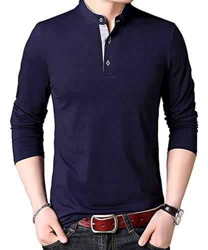 メンズ 長袖 ポロシャツ シャツ カジュアル ファッション スポーツ 秋 春 無地 綿 ボタン 部屋着