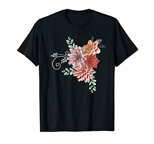 Vintage Faux porcelain Flowers with Faux Pearl swirl Tshirt