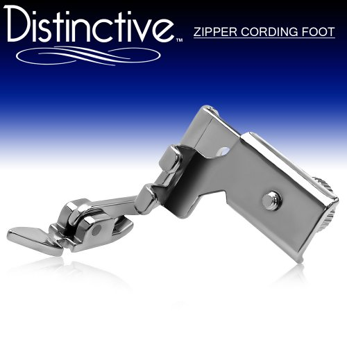Distinctive Adjustable Zipper Piping Cording Sewing Machine Presser Foot - Fits All Low Shank Singer, Brother, Babylock, Euro-Pro, Janome, Kenmore, White, Juki, New Home, Simplicity, Elna and More! White Double Piping