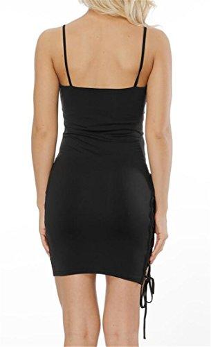 Sexy Neck Open Black Back Domple V Bodycon Party Women Drawstring Deep Dress 5q6xTg