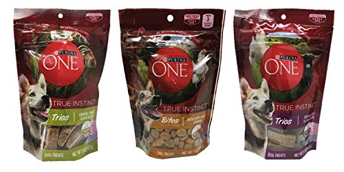 Purina One True Instinct Dog Treats Variety Pack Bundle of 3 Flavors: Trios Chicken, Turkey & Duck Recipe (5 oz), Bites with Farm-Raised Chicken (7 oz), and Trios Chicken, Beef & Lamb Recipe (5 oz)