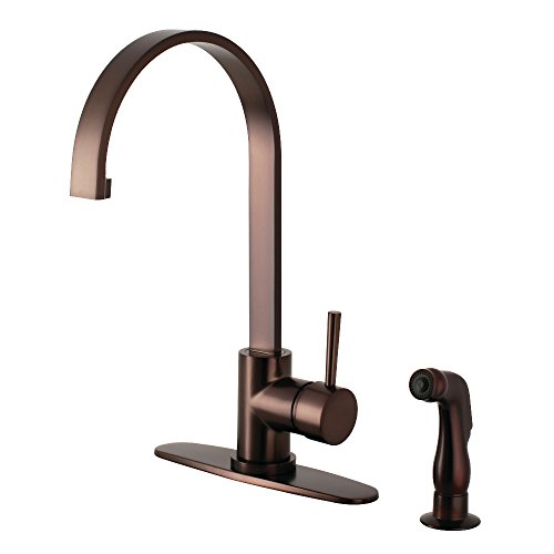 Kingston Brass LS8715DLSP Concord Single-Handle Kitchen Faucet with Side Sprayer, 8