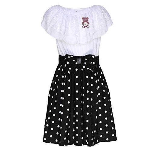 YJ.GWL Big Girl's Casual Dress Polka Dot Summer Dress