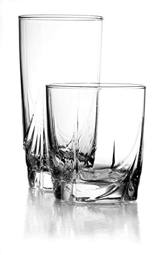 Clear Luminarc Glass (Luminarc N8767 16 Piece Ascot Tumbler Set, 8-16.5 Ounce Coolers & 8-13 Ounce Double Old Fashion Glasses, 1, Clear)