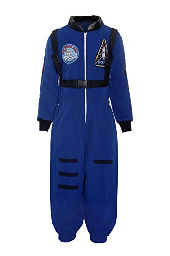 ReliBeauty Boys Kids Children Astronaut Role Play Costume, Royal, 7