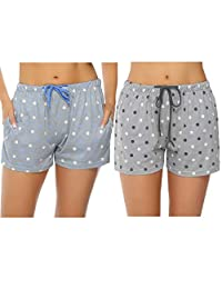 Hawiton Women's 1 & 2 Pack Star Pattern Cotton Sleeping Pajama Shorts Lounge Boxer Drawstring Bottoms