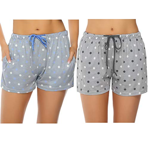 (Hawiton Women's Plaid Cotton Sleeping Pajama Shorts Lounge Boxer Drawstring Bottoms (X-Grey+Blue, Large))