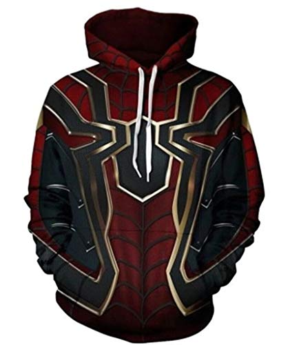 Ampparels Superhero Hoodies Pullover Sweatshirt Outfit Spider Hoodies Iron Spider (2, 2XL)