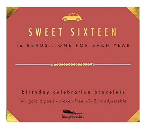 Lucky Feather Sweet 16 Gold Tone Birthday Bracelet Gift for 16 Year Old Girls with 14K Dipped Beads on Adjustable 7