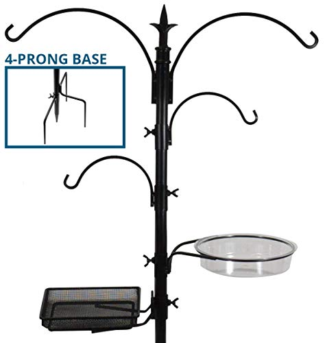 Sorbus Bird Feeding Bath Station, Black Metal Deck Pole for Bird Feeders with Ground Stake Prongs, Great for Attracting Birds Outdoors, Backyard, Garden, 7ft Tall - - Squirrel Stake