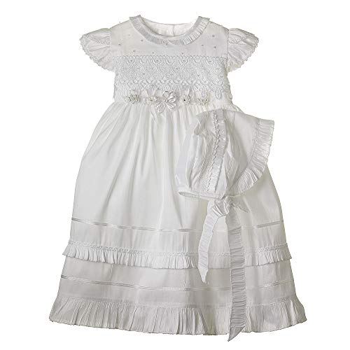 Details and Traditions Dainty Guipure Dress, MIR001, Girls Cotton Baptism Dress, Christening, Baptism Cotton Dress, Christening Dress, Baby Dress, Catholic Dress (24mo, Soft White)