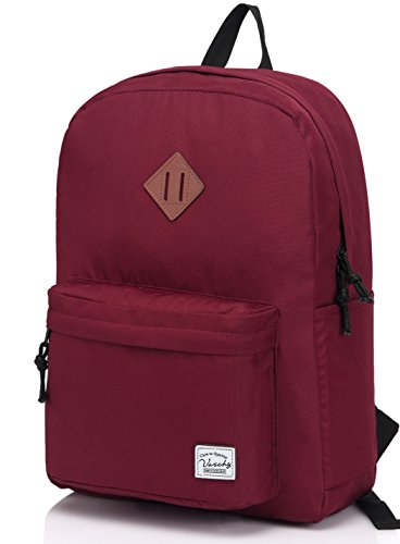 (VASCHY Lightweight Backpack,20 Liters Classic Waterproof Collapsible Daypack for Sports and Traveling,Teenagers School Book Bag with Bottle Side Pockets Burgundy)
