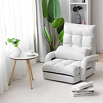 MD Group Folding Lazy Floor Chair Sofa with Armrests and Pillow, White