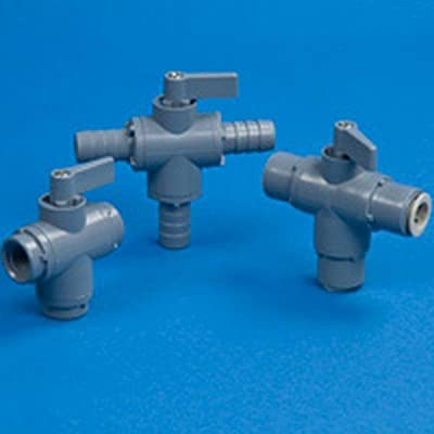 "Three-way 326 PVC Ball Valve 1/4"" OD Tube John Guest with EPDM Seals - 2.63""L x from SMC"