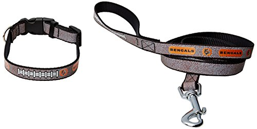 GameWear NFL Cincinnati Bengals Reflective Football Collar & Leash Gift Pack, Small, Brown