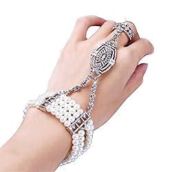 1920s Crystals Imitation Pearl Bracelet Ring Set