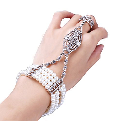 Coucoland 1920s Flapper Bracelet Ring Set Roaring 20s The Great Gatsby Austrian Crystals Imitation Pearl Bracelet Accessory (Silver)