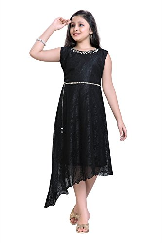 Aarika Girl's Imported Power Net Party Wear Gown (G-6256-BLACK_40_15-16 Years) by Aarika