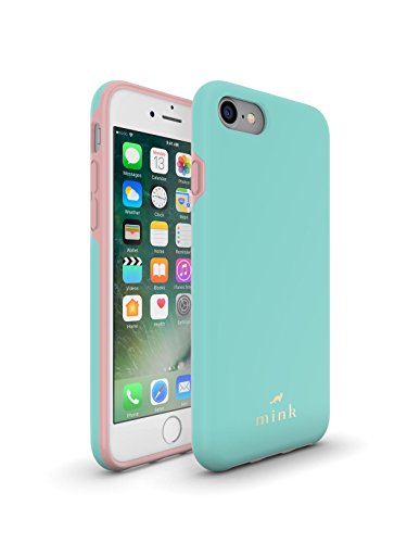 iPhone 7, iPhone 8 Protective Phone Case from Mink - Madison Series - Soft-Touch Coating. Detachable Hard Rubber Inner Liner - Slim, Sturdy, Lightweight and Beautiful - Tiffany Blue and Bridal Rose